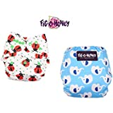 Fig O Honey Reusable New Born Baby Cloth Diapers | Multi-Color Baby Cloth Nappy With Free Absorbent Inserts | Washable Elastic Cloth Diapers | Reusable Elastic Printed Cloth Diapers | ( Ladybug & Elephant Print Combo )