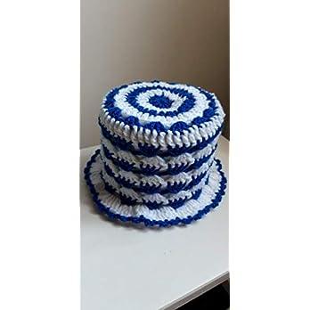 (7) Klopapierhut Klohut Toilet paper hat in Blau und Weiß gehäkelt Auto Fußball Kult Geschenk Sport Scherzartikel Toilet Paper Hat