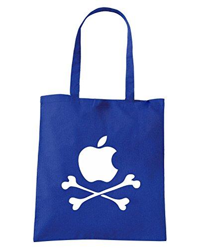 T-Shirtshock - Borsa Shopping FUN0617 apple pirate shirt Blu Royal