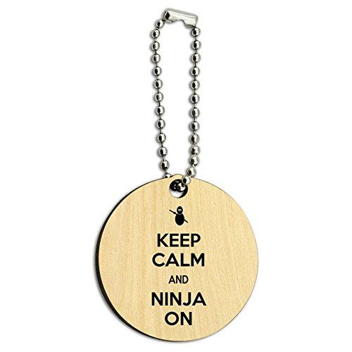 Keep Calm und Ninja auf Holz rund Schlüssel Kette Ninja-schlüssel-ring