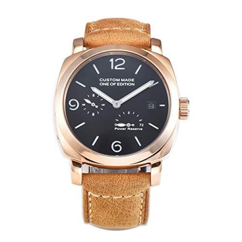 PARNIS-mm 9503 Exclusive deutsche Edition Herrenuhr Automatik-Uhr 44mm Edelstahl Vergoldet Leder Mineralglas 5BAR Seagull Uhrwerk Gangreserve-Anzeige
