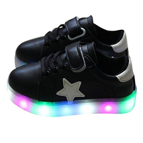 Sunching Jungen Mädchen erster Weg Schuh blinkender LED heller Turnschuh Schwarz