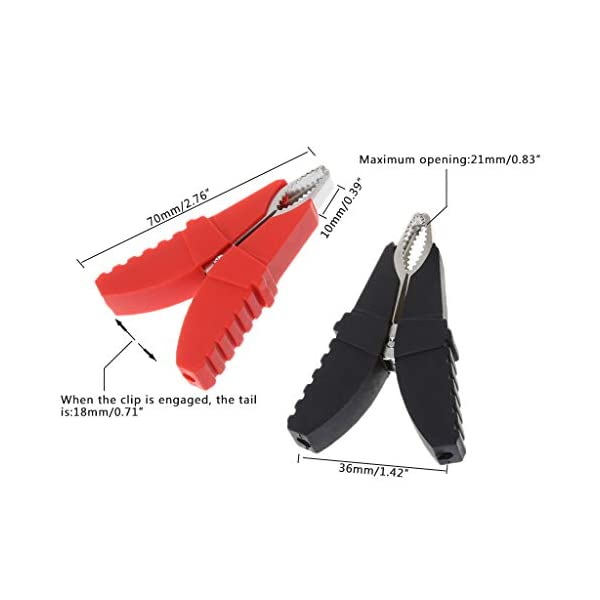 Kalttoy – Juego de 2 pinzas de cocodrilo aislantes para batería de coche, color rojo y negro