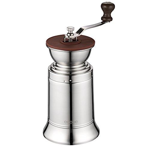 Ecooe Manuelle Kaffeemühle Edelstahl Handkaffeemühle mit Keramikmahlwerk einstellbarer Mahlgrad Espressomühle