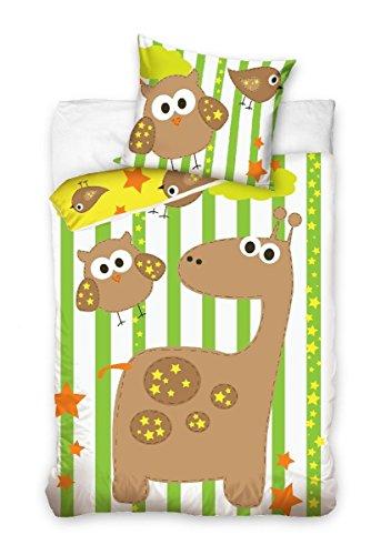 Maxi & Mini - Set di biancheria da letto, motivo: giraffa e gufo; copripiumino, dimensioni: 100 x 135 cm e federa, dimensioni: 40 x 60, articolo decorativo per la camera dei bambini