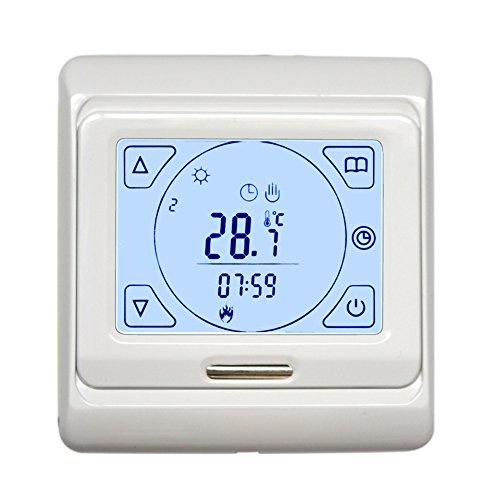 LCD programmierbarer Thermostat für Fußbodenheizung, Temperatur-Konsole mit weißer Hintergrundbeleuchtung Touchscreen - Programmierbare Wärmepumpe Thermostat