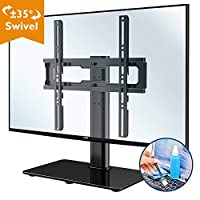 """1home Table Top Pedestal TV Stand for 26""""-55"""" LCD/LED/Plasma TVs Swivel Height Adjustable - 8mm Tempered Glass Base with Anti-Slip Feet, Includes Free Cleaning Kit"""