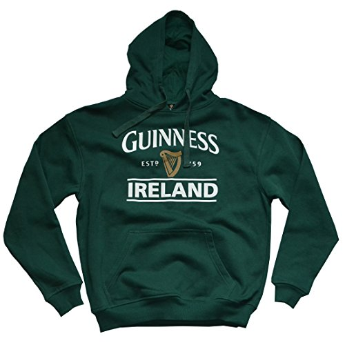 Guinness Pullover Hoody mit Guinness Logo & Irland Print, Wald Grün, M