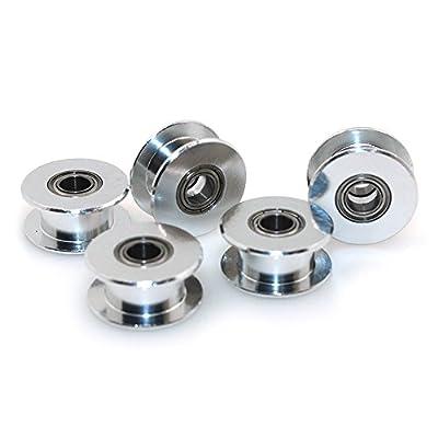BIQU GT220teeth 5mm Bohrung Aluminium Zahnriemen-Spannrollen-Satz für 3D Drucker 6mm Breite Zahnriemen (Pack von 2)