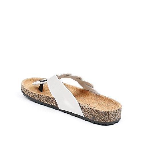 Ideal Shoes - Nu-pieds vernis style orthopédique Fidja Blanc