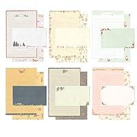 طقم حروف ورقية IMagicoo 48 قرطاسية جميلة مع 24 ملصق ختم ظرف / ظرف (10)