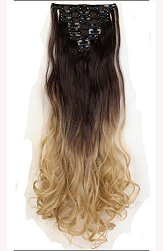 61cm 8 teiliges Set Clip in Hair Extensions Haarverlaengerung Haarteile Haarverdichtung Gewellt Gelockt Lockig Vollen (Rot Verlängerung Haar)