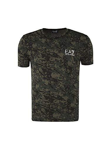 9f9fcb99b5a Emporio Armani EA7 t-Shirt Manches Courtes Ras du Cou Homme Vert EU M (