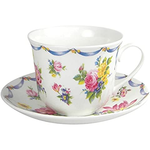 Roy Kirkham Dresden Spray Rose Chintz Breakfast Teacup and Saucer