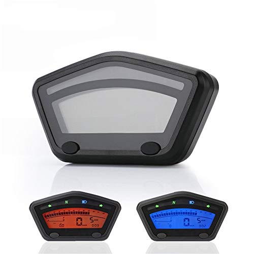 CHUDAN Motorrad LED Instrument Universal Mini Tacho Digitale Kilometerzähler DC 12V Hintergrundbeleuchtung (zweifarbig einstellbar)