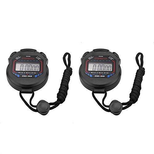 SIENOC Digital profesional portátil LCD cronógrafo temporizador deportes cronómetro Stop Watch (2 paquete)
