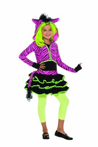 Rubie's 2886635S Zebra Hoody, Kostüm für Kinder, Neon Rosa, S (Neon Zebra Kostüm)
