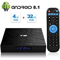 Android 8.1 TV BOX, T9 Android Box 4GB RAM 32GB ROM RK3328 Bluetooth 4.1 Quad Core 64bits Smart TV BOX, Built-in 2.4G Wi-Fi, HDMI Output, 4K 3D Ultra HD TV Box