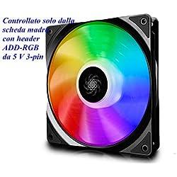 DEEPCOOL CF140 PWM Ventilador RGB(120mm) Silencioso de Alto Rendimiento, Controlado por Controlador(Incluido)