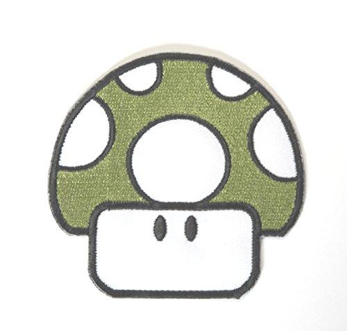 Groß, Grün Pilz Patch Embroidered Iron on Badge Aufnäher Kostüm Mario Kart/SNES/Mario World/Super Mario Brothers/Mario Allstars ()