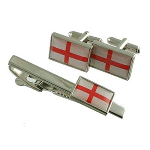Flag England Cufflinks~St. George Britain Cufflinks & Tie Bar 55mm Clip Box Set - Hand Made
