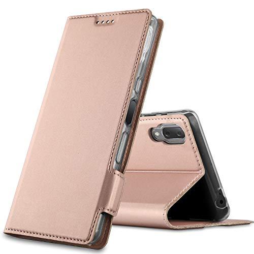 GEEMAI für Sony Xperia L3 Hülle, handyhüllen Flip Hülle Wallet Stylish mit Standfunktion & Magnetisch PU Tasche Schutzhülle passt für Sony Xperia L3 Smartphone, Rosegold