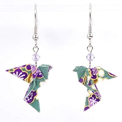 Boucles d'oreilles colombes origami verticales fleurs violettes sur fond vert - crochets inox