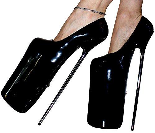 Erogance  30cm Extrem Plateau High Heels Lack Pumps, Escarpins pour femme noir