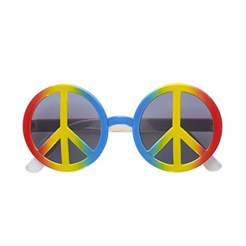 Widmann 6602H - Love & Peace Brille - multicolor - ca. 14,5 cm lang - Ø der Gläser: ca. 6 cm