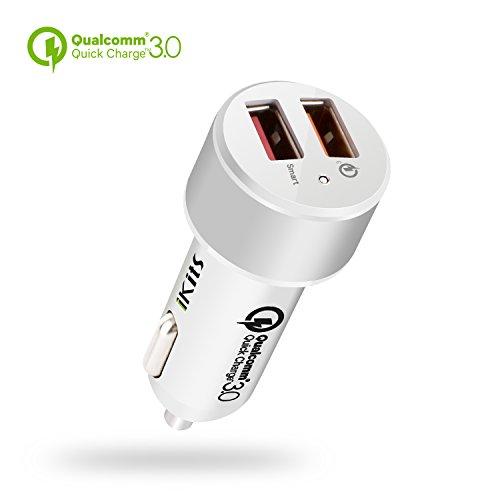 Quick Charge 3.0, iKits 30W double chargeur de voiture USB, chargeur rapide de voiture portable, 5V / 2.4A + QC3.0 pour Samsung Galaxy S7 / S6 / Edge / Plus / Note 5/4, HTC, Smart Port pour iPhone 7 / iPad Pro / Air 2 / mini et plus
