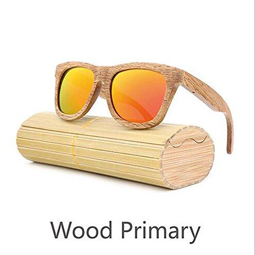 Preisvergleich Produktbild ANLW Retro-Männer Und Frauen Bambus Holz Sonnenbrille Holzmaserung Polarisierte Gläser Sonnenbrille, Orange