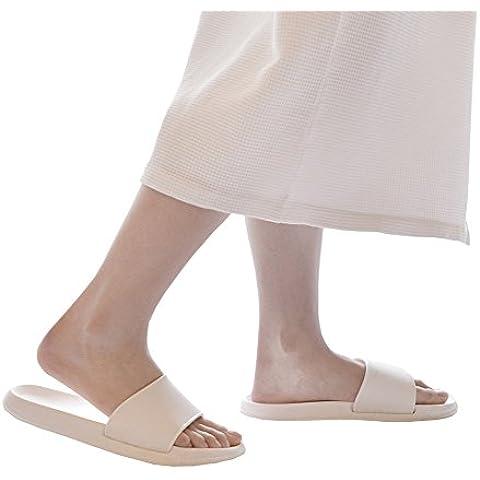 Slip-on Zapatillas sandalias de ducha antideslizante de herramientas abierta interior o exterior Mule Think EVA resina espumas suela zapatos de piscina baño Slide para adultos, blanco, uk 4.5-5.5(insole 9.8