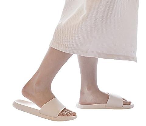 Pantoufles à enfiler ouvert antidérapant Sac de douche Sandales d'intérieur ou d'extérieur en résine Mule Think Eva Semelle mousse chaussures de piscine diapositive de Salle de Bain pour adulte, blanc, uk 7.5-8.5(insole 10.6