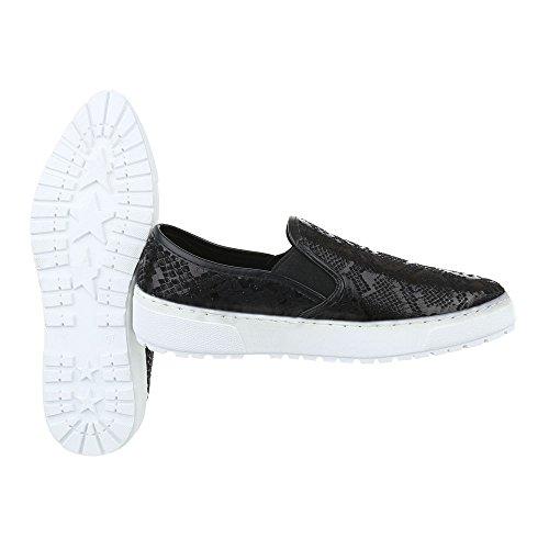 Slipper Damen Schuhe Low-Top Moderne Ital-Design Halbschuhe Schwarz