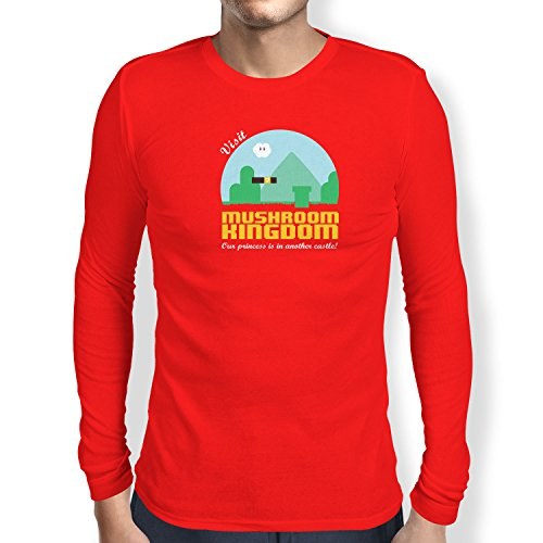NERDO - Visit Mushroom Kingdom - Herren Langarm T-Shirt, Größe XL, rot (Light T-shirt Donkey)