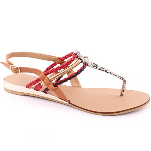 Unze Nouveau Femmes 'Rico' Coloré Strappy Summer Beach Party Get Together Chaussures Carnival Casual Casual Sandals Taille UK 3-8 Rouge