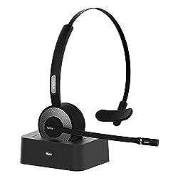 Willful Bluetooth Headset,Bluetooth Kopfhörer Kabellos Over-Ear mit Mikrofon PC Headset mit Ladestation Rauschunterdrückung Leicht Wireless Headset Freisprechen Chat Headset für Handy PC LKW-Fahrer