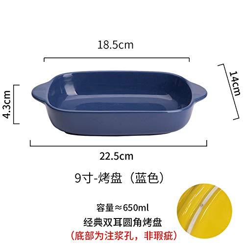 Rechteckiger binauraler Reisbehälter Kreativer Farbofen Mikrowellenherd Backblech Haushaltskeramikplatte 9 Zoll - Backblech - Gelb Pappteller Und Grau