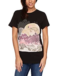 Rip Curl Skull Wolf Logo Women's T-Shirt Solid Black Small