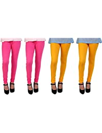 Anekaant Cotton Lycra Women's Churidar Legging Pack of 4 (2, Light Rani & 2, Spl. Gold)