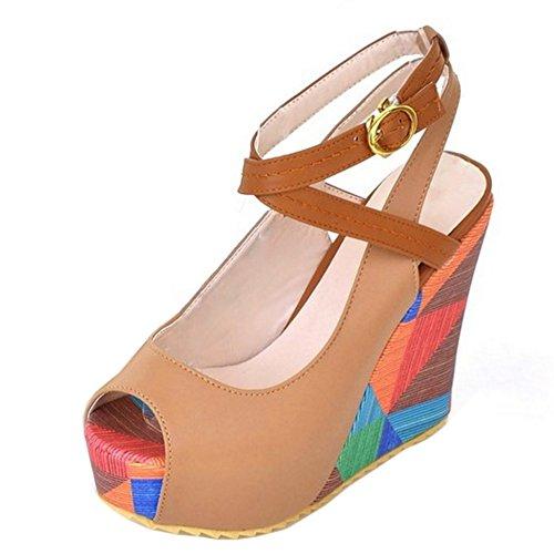 Taoffen Damen Cunhas Peep-toe De Impressão Salto Alto Plataforma Sandalen Sapatos Slingback De Damasco