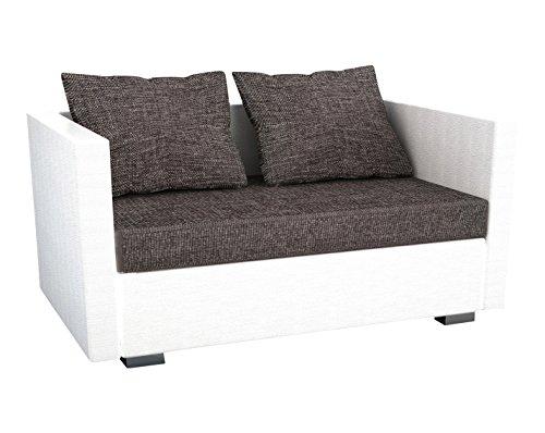 VCM Sinsa 904087 2-er Couch mit Kunstleder in weiß