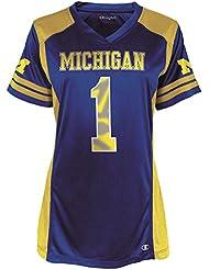 """Michigan Wolverines Women's NCAA Champion """"Kick Off"""" Fashion Football Jersey Maillot"""
