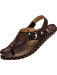 Youlee Herren Peep-Toe-Strandschuhe Leder Sandalen für den Sommer
