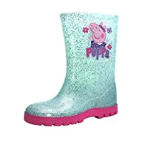 Girls Blue Peppa Wellies with Sparkling Silver Glitter