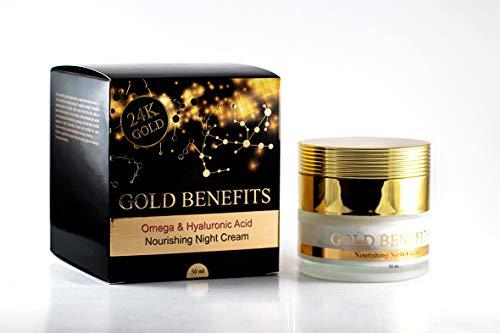 Crème de nuit nourrissante aux bienfaits d'or, riche en minéraux de la Mer Morte et en Or 24K, Donne à la peau un aspect vital et plus jeune. aider à réduire la formation de nouvelles rides.
