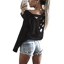 3cfab4c4c90693 Woweal V Ausschnitt Oberteile Damen Kreuz Pullover Langarmshirts Tops Hemd  Shirt