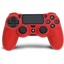 Microware PS4 Controller Skin Protective Case Cover Silicone Grip For PlayStation Dualshock 4 Gaming Controllers (Red)