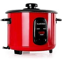 Klarstein Osaka olla arrocera con complemento de cocción al vapor (500 W, 1,5L , antiadherente, apagado automático con función de mantenimiento en calor, tapa de vidrio, incluye cucharón y vaso medidor de arroz) - rojo