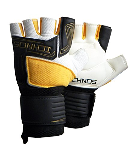 Ichnos guanti da portiere calcetto / calcio a cinque a mezze dita taglia adulto